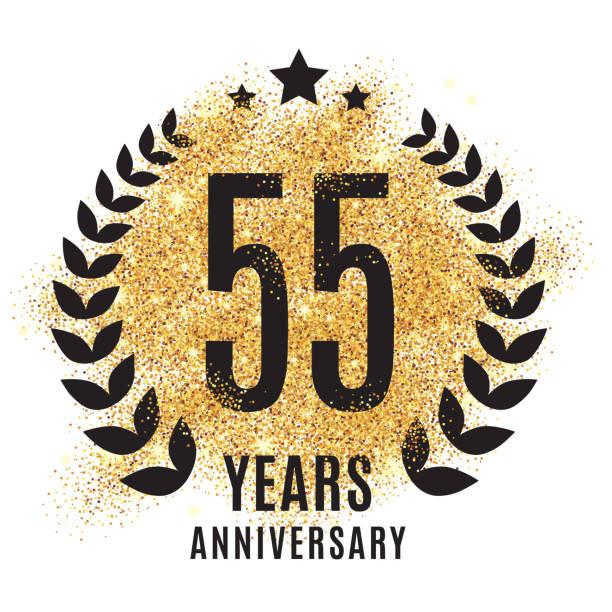 bildbanksillustrationer, clip art samt tecknat material och ikoner med fifty-five years golden anniversary - 55 59 år