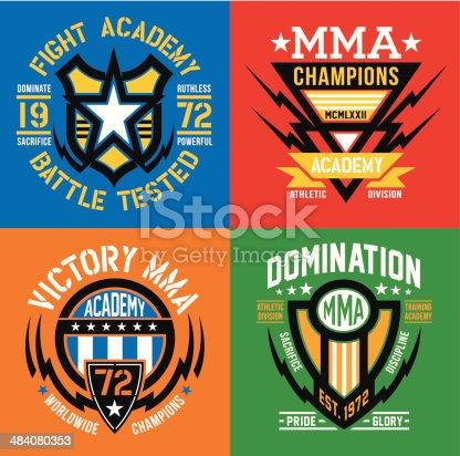 Fight academy MMA emblem set