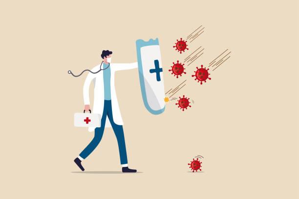 illustrations, cliparts, dessins animés et icônes de combattez et protégez le concept d'éclosion de coronavirus covid-19, docteur portant le masque hygiénique avec le stéthoscope tenant le bouclier protecteur avec le symbole de croix rouge pour protéger des agents pathogènes de coronavirus covid-19. - medecin covid