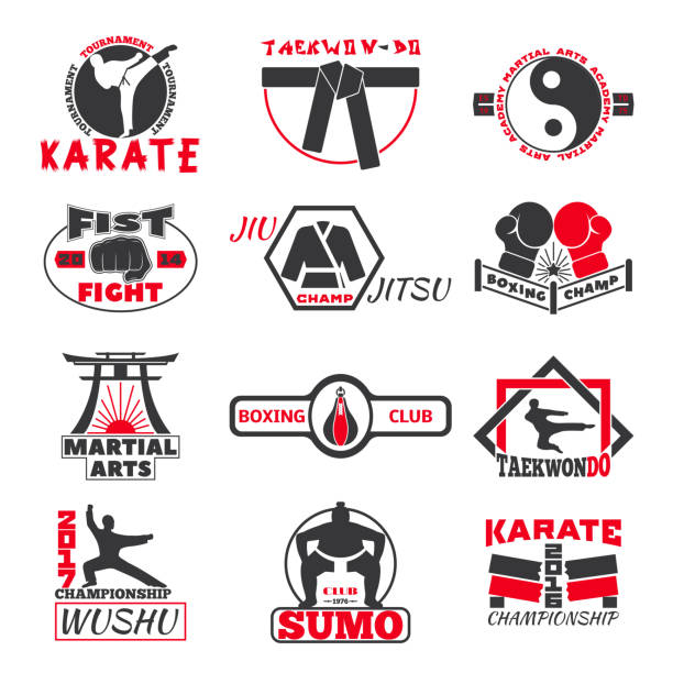 fight club bages vector set. - taekwondo stock illustrations, clip art, cartoons, & icons