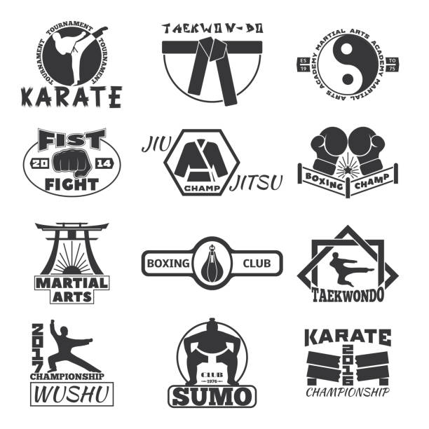 fight club bages vector set. - martial arts stock illustrations