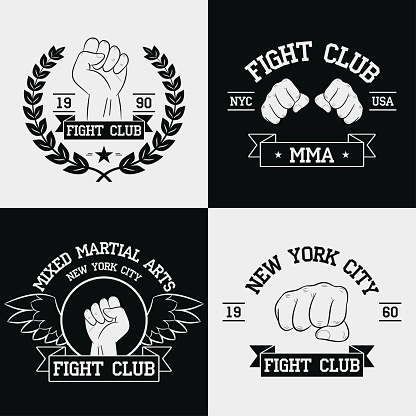 Fight Club graphics for t-shirt set. New York city, MMA, Mixed Martial Arts. Fighting typography for design clothes, logo, apparel. Sport print with fist, ribbon, wings and laurel wreath.