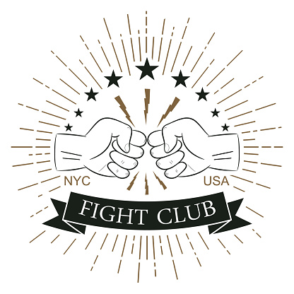 Fight club logo. Hipster style. Print for design clothes, t-shirt stamp with sunray, lightning and fist. Typography of athletic apparel. Vector