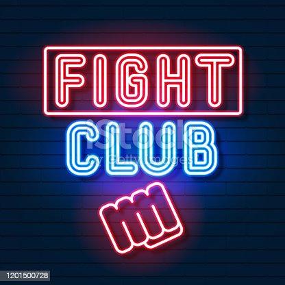 Fight Club Logo Neon Sign Vector . Neon Banner, Night Glowing Emblem Advertisement