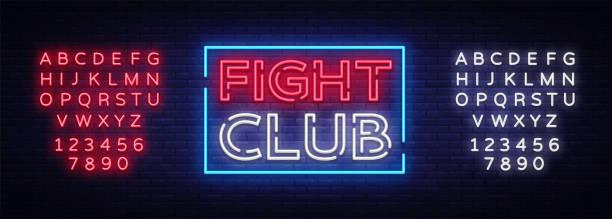 Fight club neon signboard. Bright night advertising, light banner, design neon sign template. Vector illustration. Editing text neon sign vector art illustration