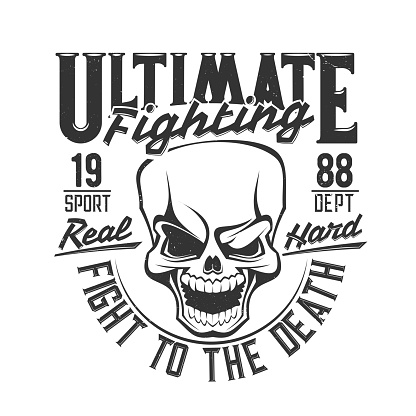 Fight club skull t shirt print, boxing wrestling