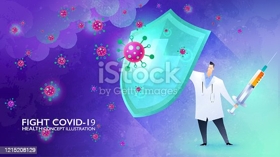 Fight Covid-19 concept illustration. Doctor rising the shield against the storm of viruses and ready to fight back with the vaccine in his hand. Vector design template.