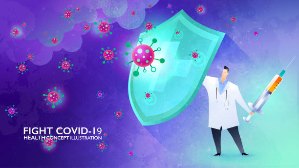 fight covid-19 concept illustration. doctor rising the shield against the storm of viruses and ready to fight back with the vaccine in his hand. vector design template. - vaccine stock illustrations