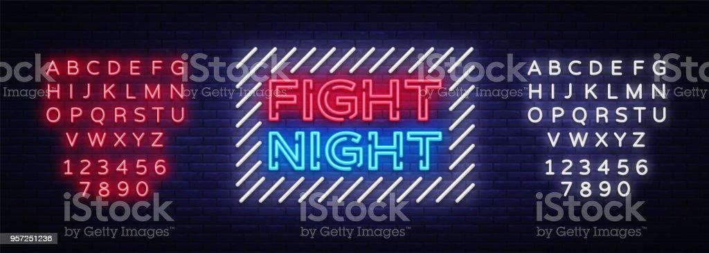 cc762ea03da Combattre Lenseigne Au Néon De Nuit Nuit Lumineuse Publicité Légère ...