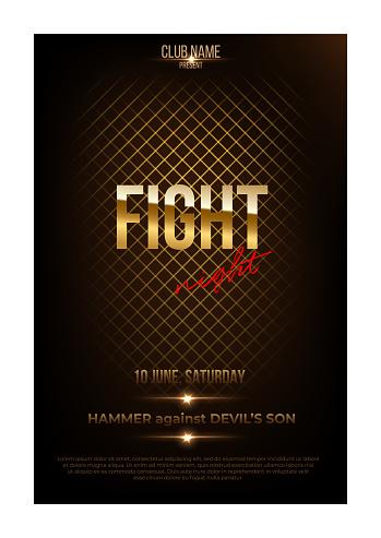 Fight night poster template. Vector golden words on dark background.