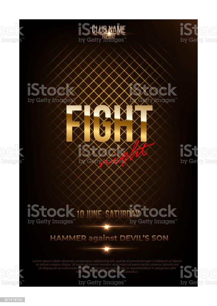 Fight night poster template. Vector golden words on dark background. vector art illustration