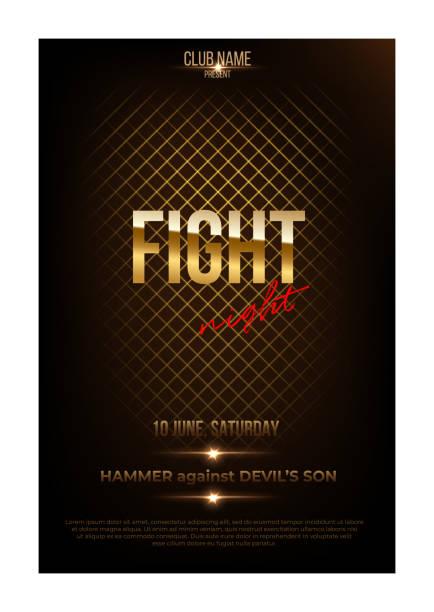 fight night poster template. vector golden words on dark background. - wrestling stock illustrations, clip art, cartoons, & icons