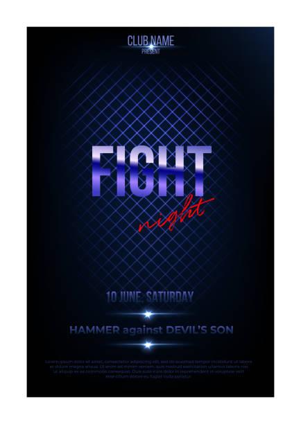 stockillustraties, clipart, cartoons en iconen met sjabloon poster de nacht vechten. vector gouden woorden op donker blauwe achtergrond. - mma