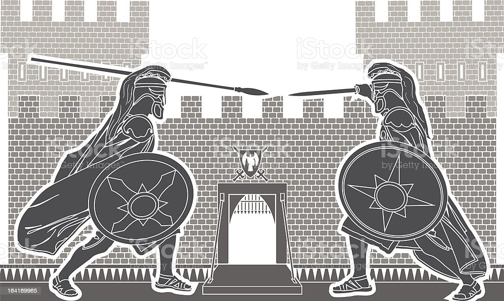 fight of two knights royalty-free stock vector art