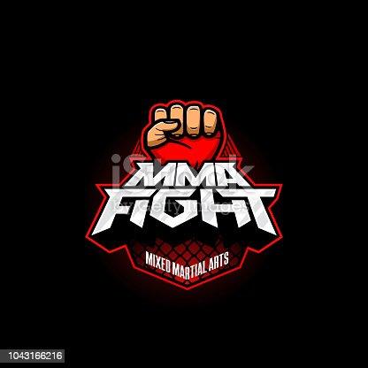 MMA fight symbol. Mixed martial arts vector symbol. Mix fight logo template.