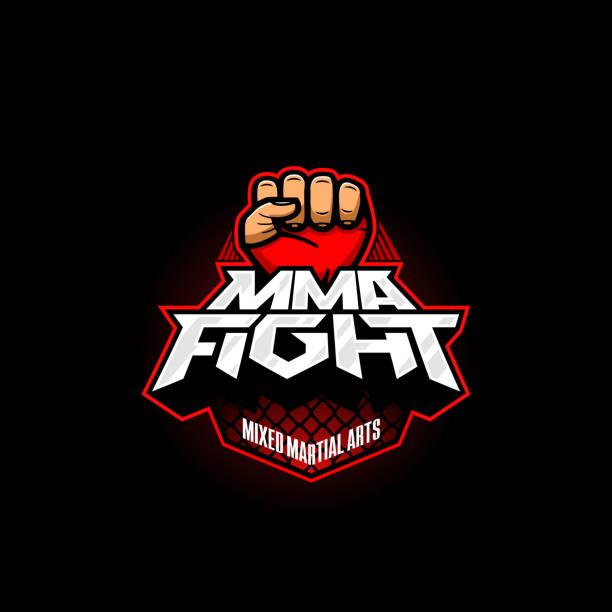 ilustraciones, imágenes clip art, dibujos animados e iconos de stock de símbolo de la lucha mma. vector símbolo de las artes marciales mixtas. plantilla de logotipo de lucha mezcla - boxeo deporte