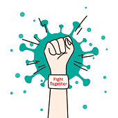 Fight together.  Fists raised in the air with virus. Vector illustration.
