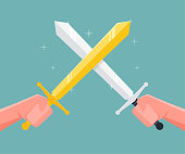 Fight with the sword. Vector illustration