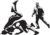 fight wrestling and referee