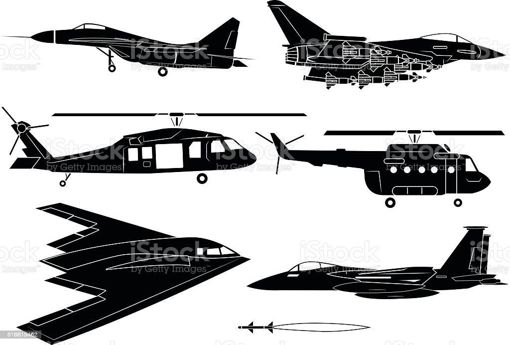 Fighter aircraft vector art illustration