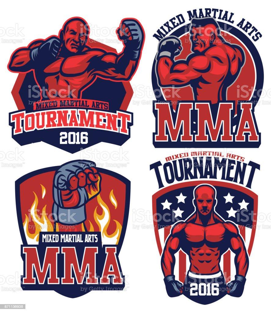 MMA fighter badge set vector art illustration