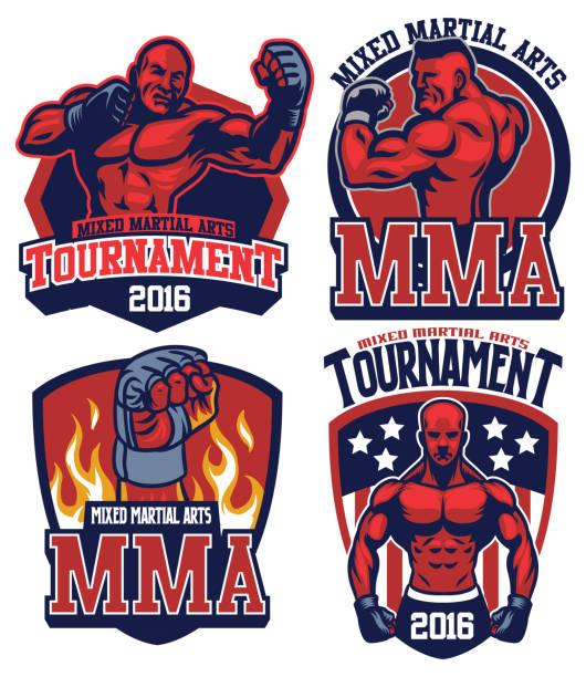mma fighter badge set - wrestling stock illustrations, clip art, cartoons, & icons