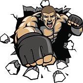 MMA fighter break the wall