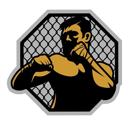 MMA fighter in rack