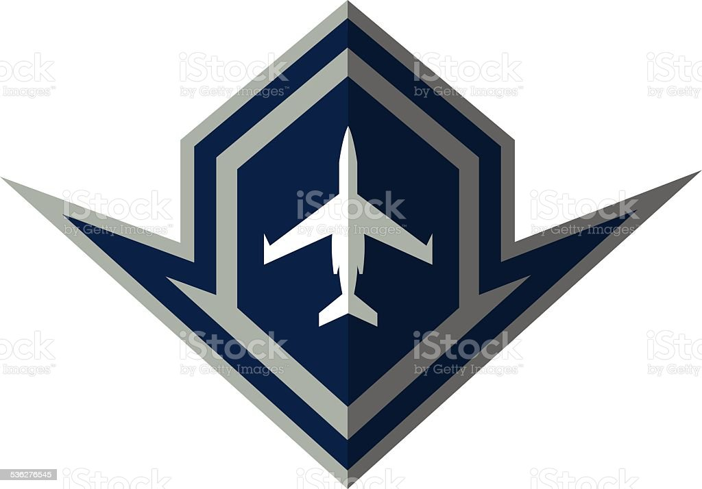 Fighter Jet Crest vector art illustration