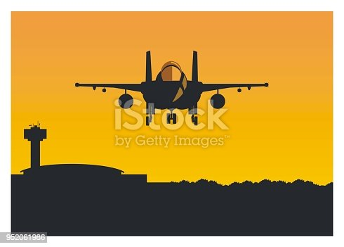 simple illustration of a fighter jet plane flying over the airport