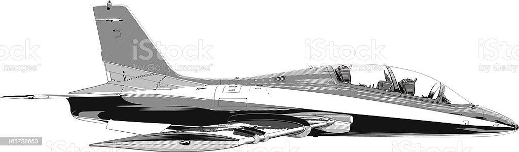 Fighter jet plane flying vector art illustration