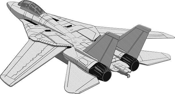 ilustrações de stock, clip art, desenhos animados e ícones de avião a jato ilustração plana f16 - exhaust white background