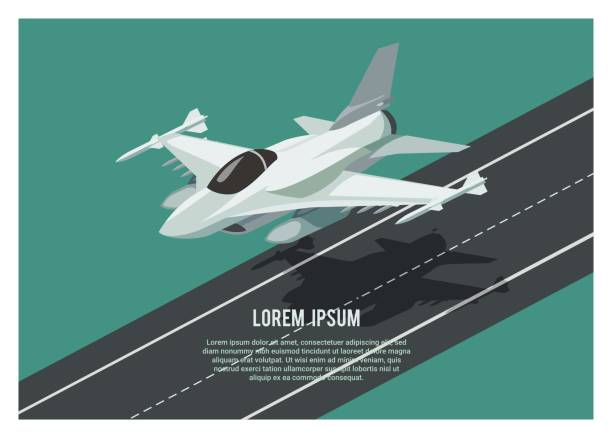 fighter jet plane landing/take off over the runway simple illustration of a fighter jet plane landing/take off over the runway air force stock illustrations