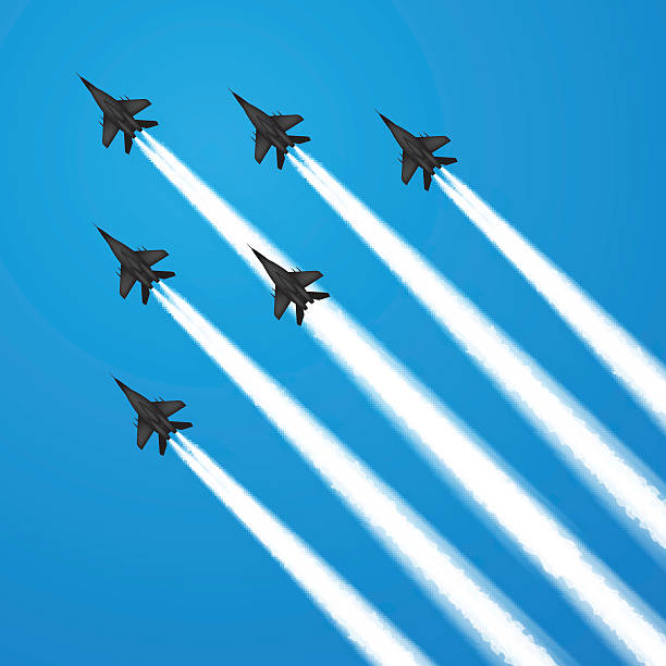 Fighter jets Military fighter jets during demonstration. Vector illustration air force stock illustrations