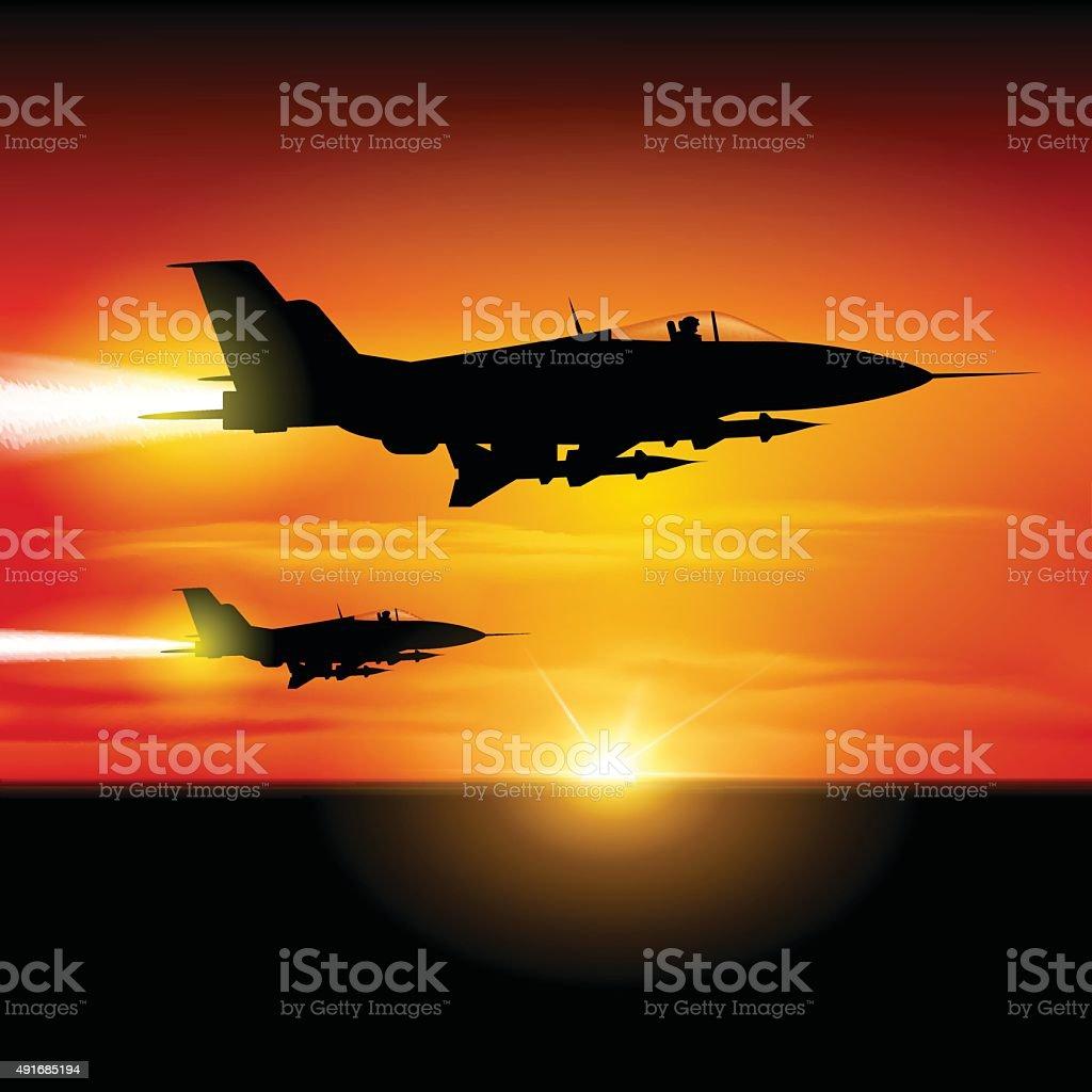 Fighter jets vector art illustration