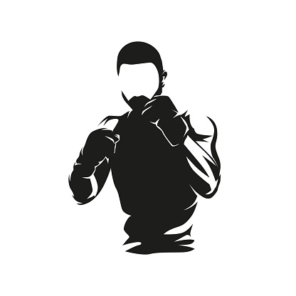 Fighter logo, boxing isolated vector illustration, ink drawing. Front view