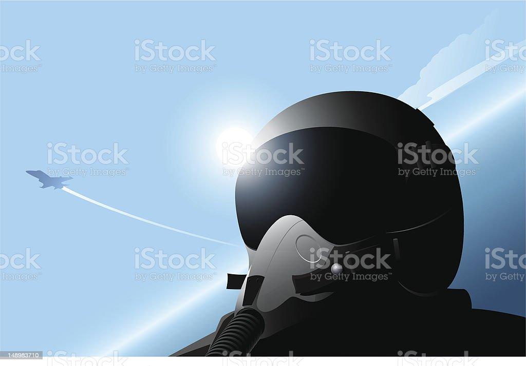 Fighter pilot vector art illustration