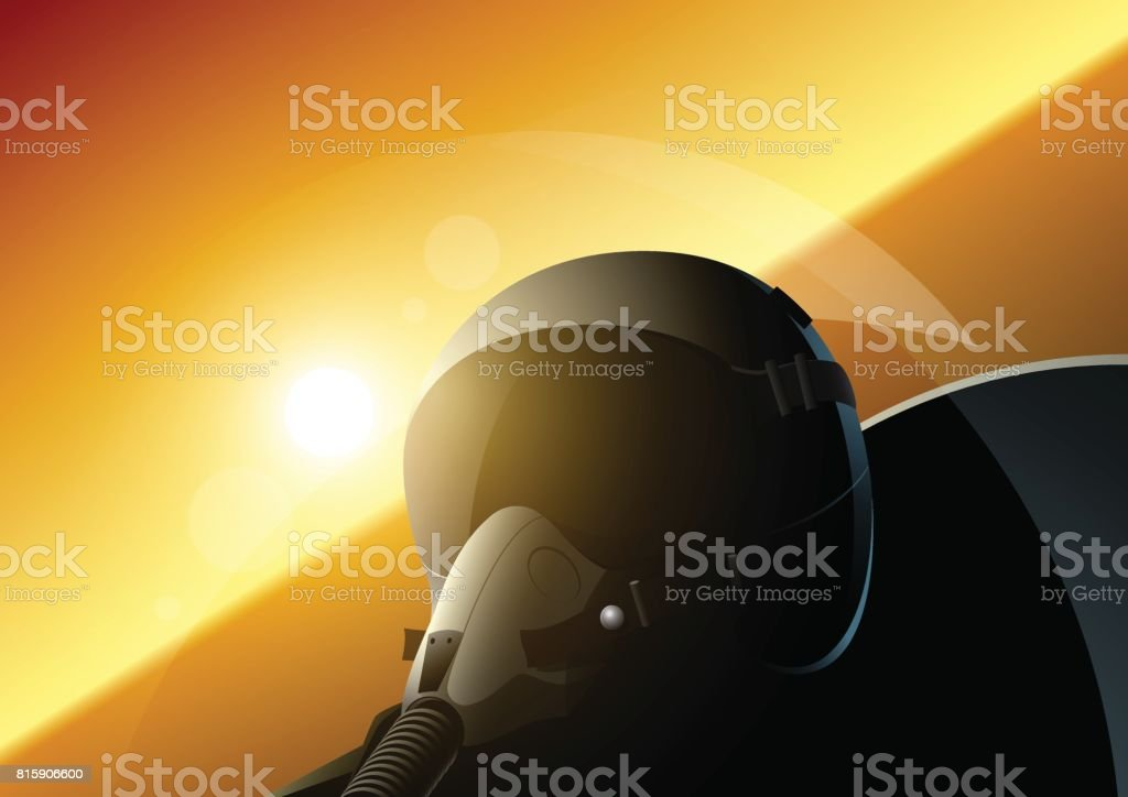 Fighter pilot vector art illustration