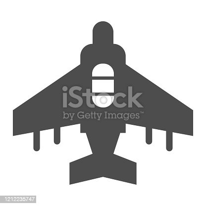 istock Fighter plane solid icon. Military aircraft, reconnaissance drone symbol, glyph style pictogram on white background. Warfare sign for mobile concept and web design. Vector graphics. 1212235747