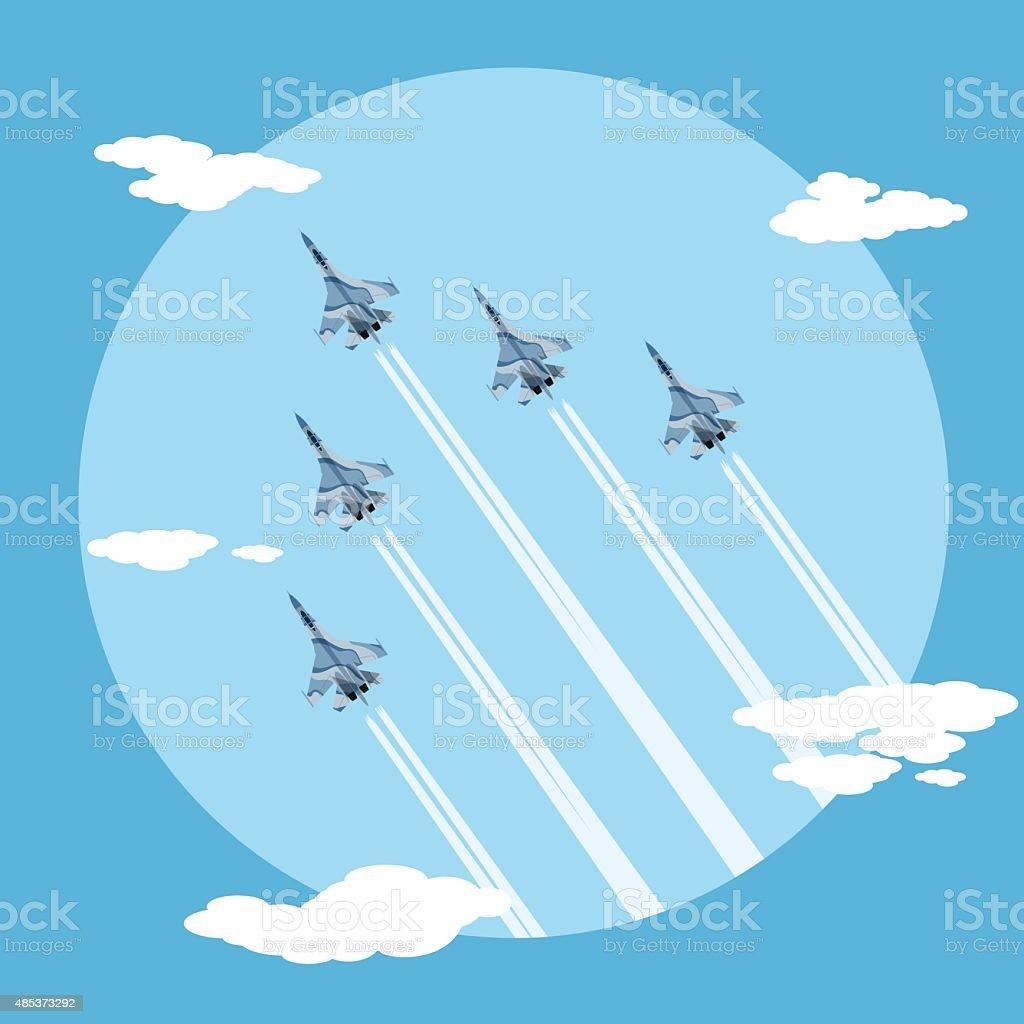 fighter planes vector art illustration