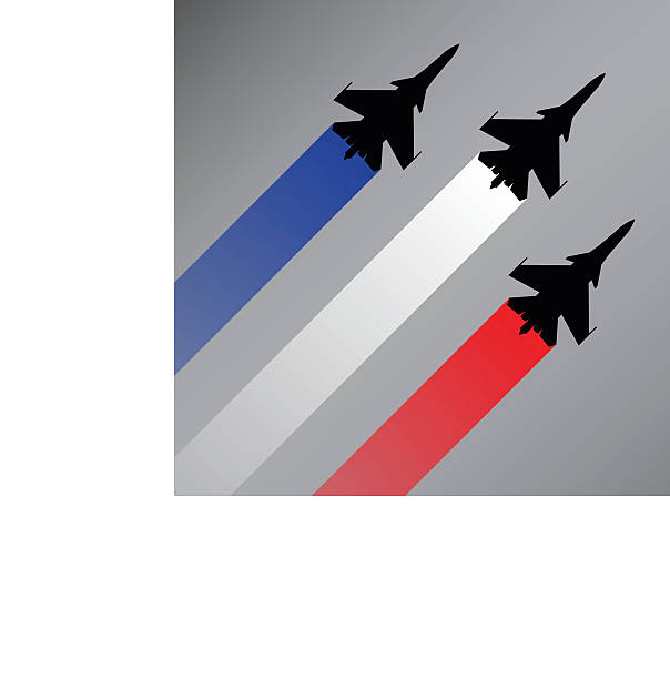 Fighter planes with the flag of France vector Fighter planes with the flag of France vector aviation and environment summit stock illustrations