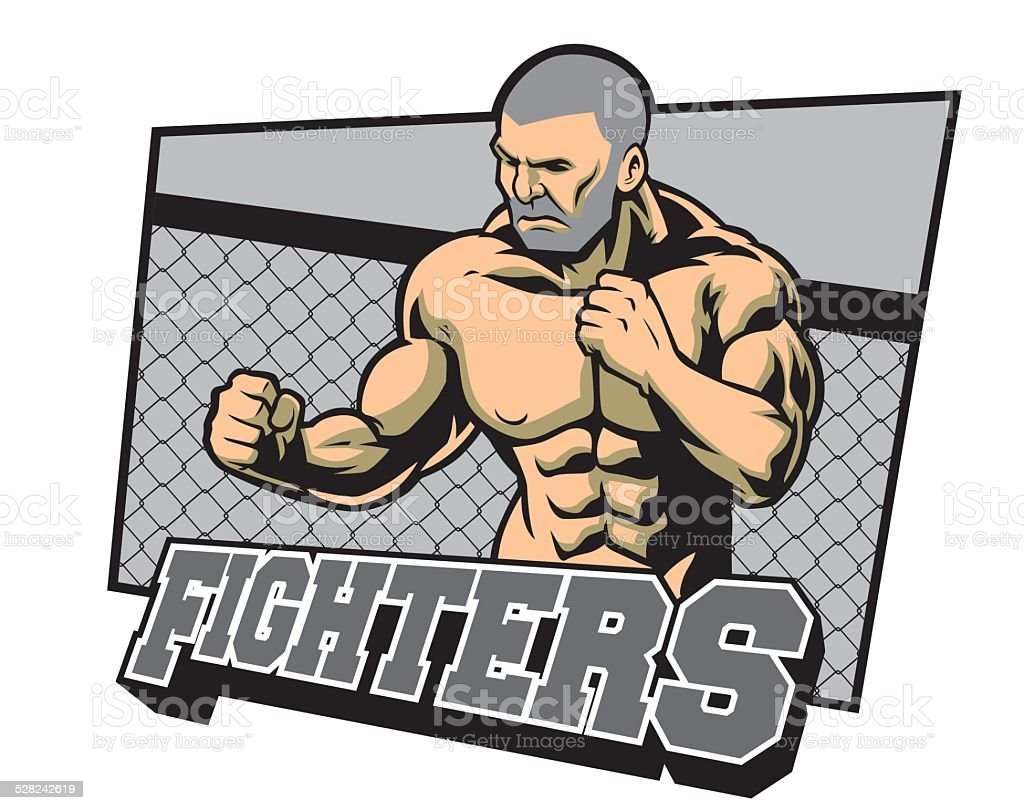 fighter ready for fighting vector art illustration