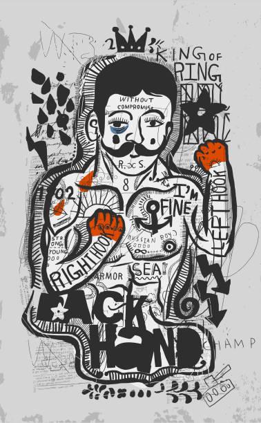 ilustraciones, imágenes clip art, dibujos animados e iconos de stock de luchador  - boxeo deporte