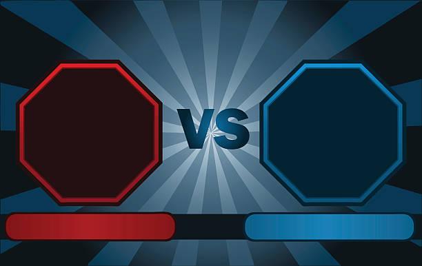 stockillustraties, clipart, cartoons en iconen met fighter versus screen. - mma