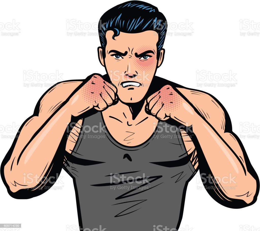 Vetores De Lutador Com Os Punhos Clube Da Luta Combate Luta Ou