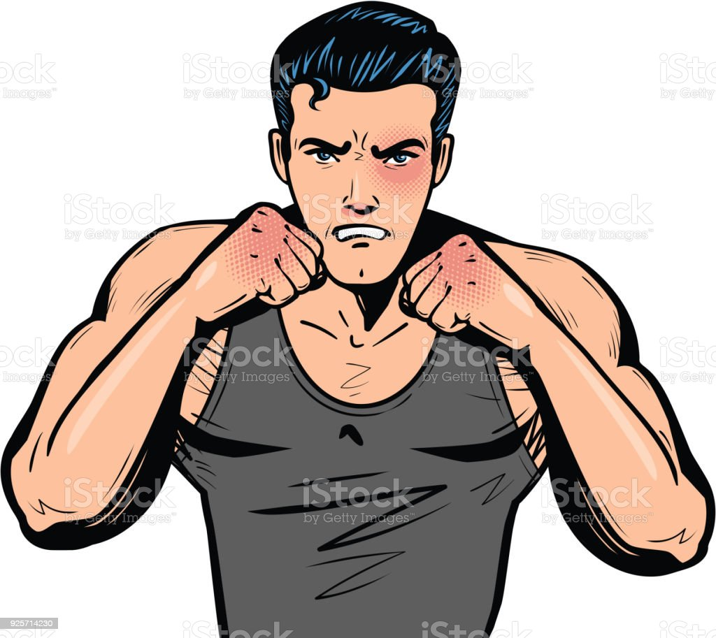 Fighter with fists. Fight club, combat, fighting or boxing in pop art retro comic style. Cartoon vector illustration vector art illustration