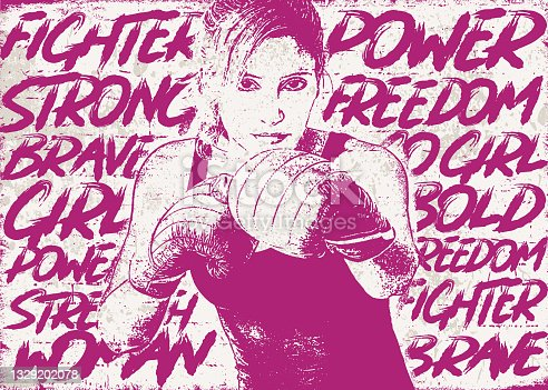 istock Fighter woman boxing over empowering words 1329202078