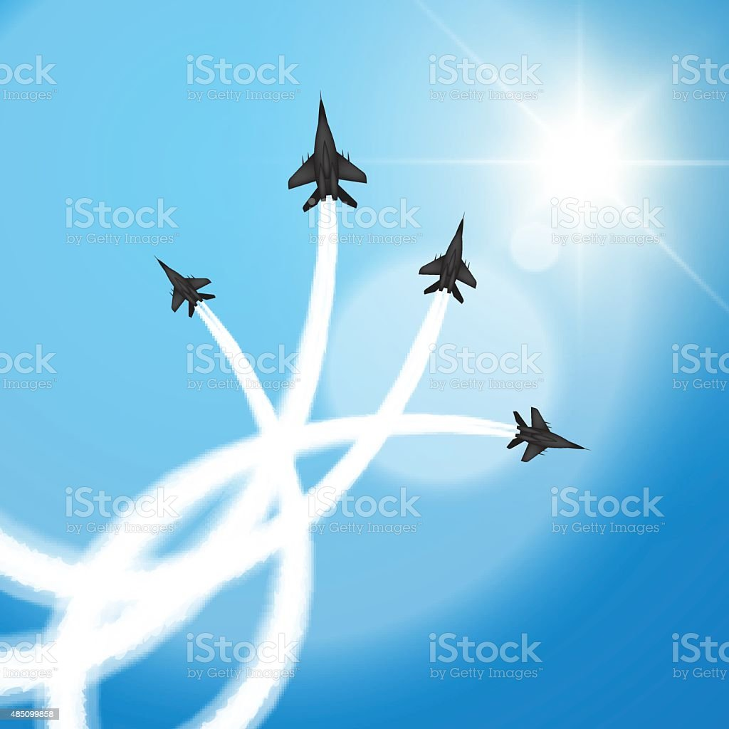 Fighters at air show vector art illustration