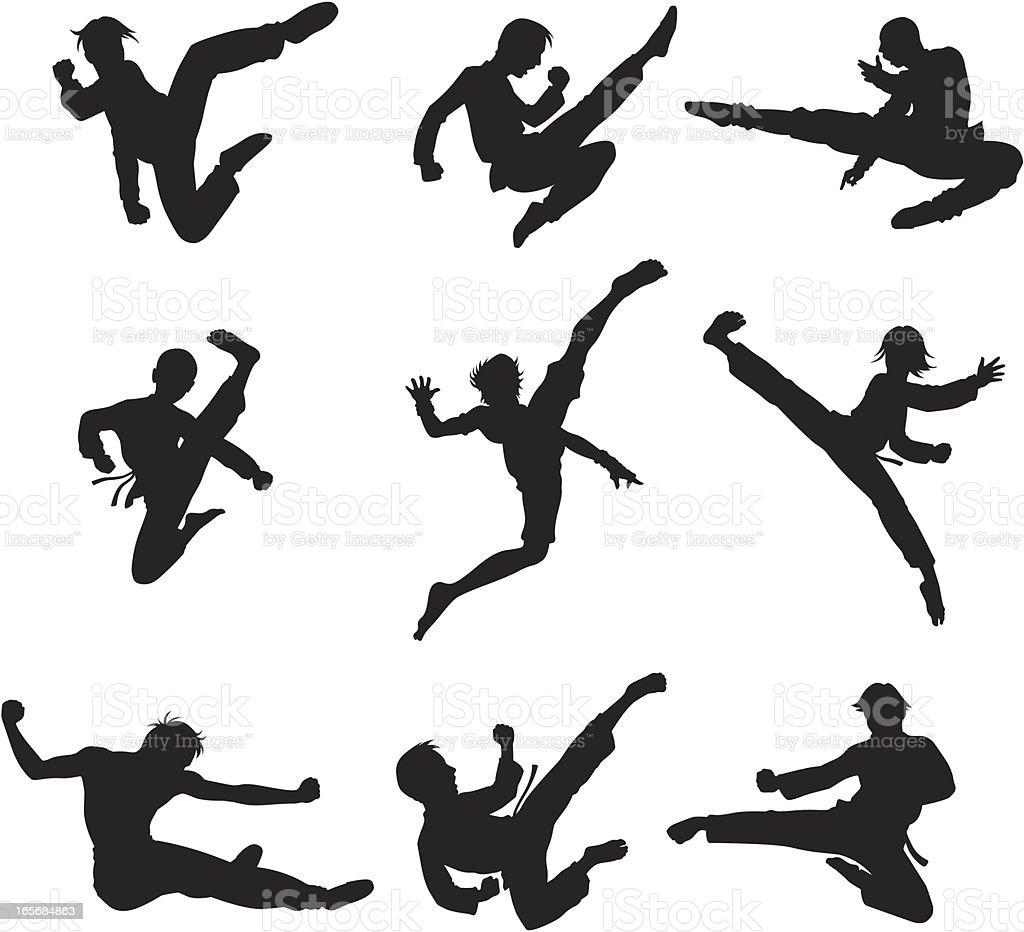 Guerreiros em ação - ilustração de arte em vetor
