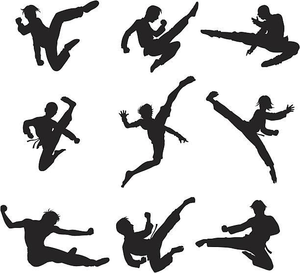 Combattants en action - Illustration vectorielle